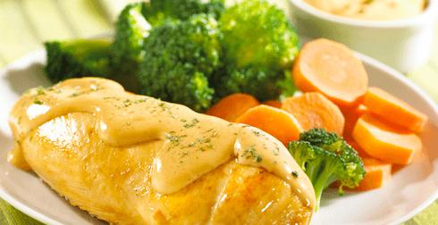 Pechuga de pollo en salsa de queso