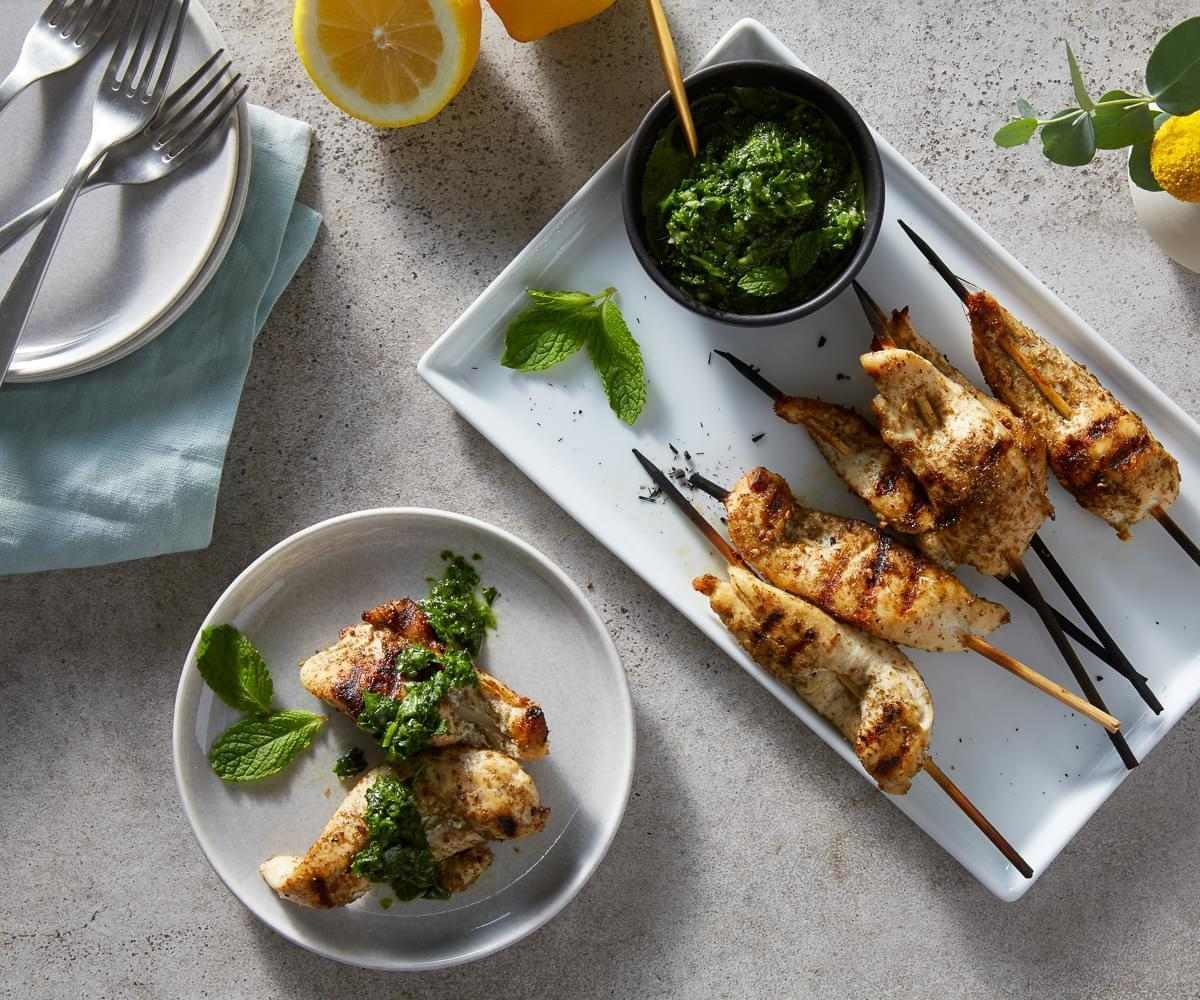 Za'atar Chicken Skewers with Mint Harissa image