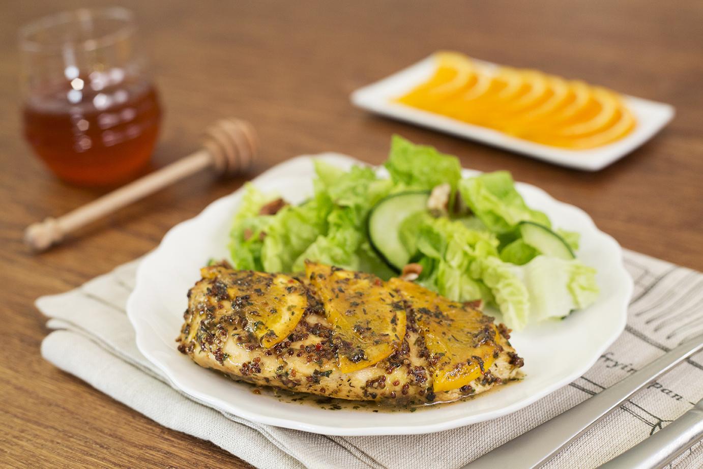 Abanico de pollo con miel y naranja