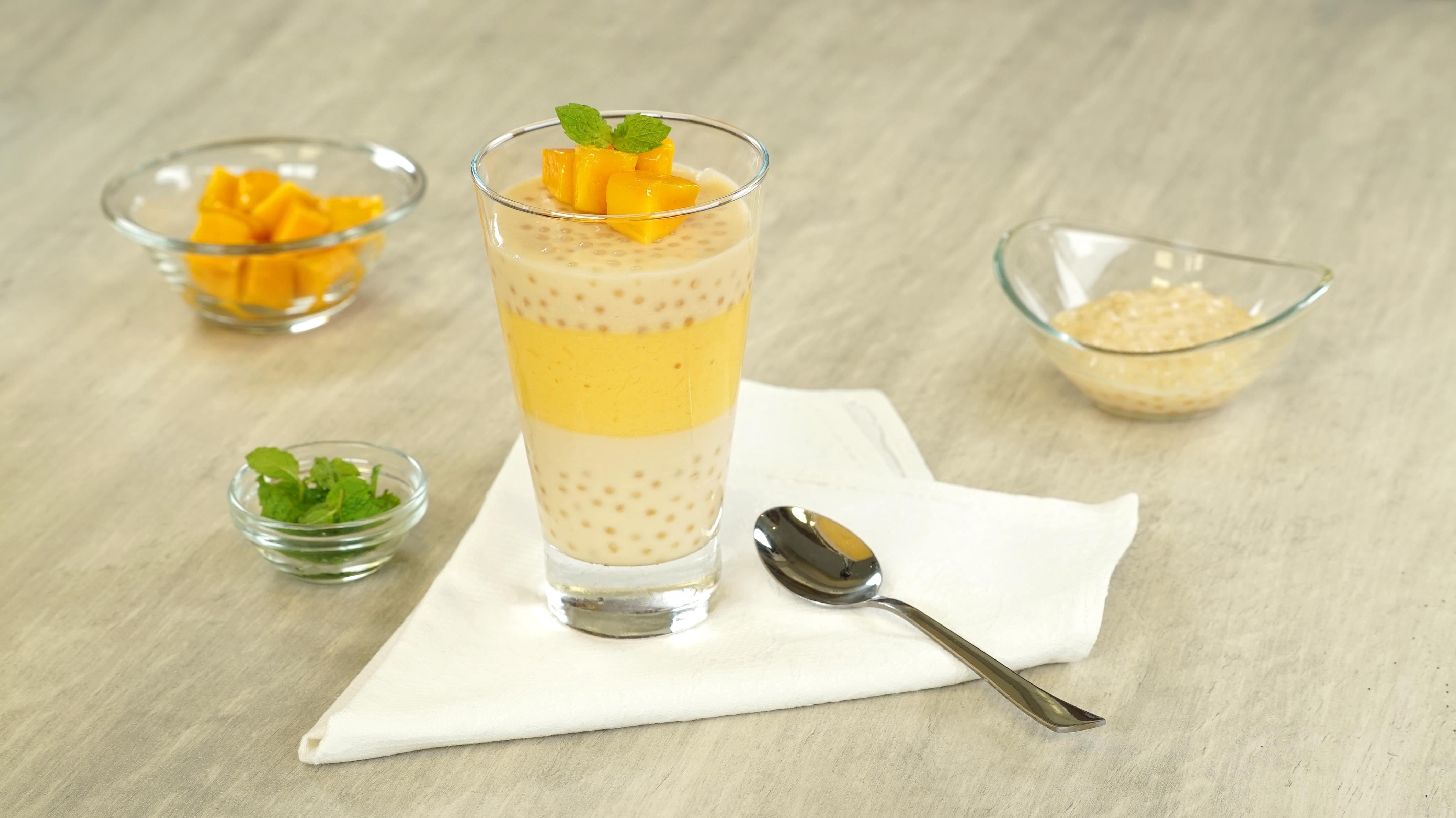 Postre de tapioca con mango