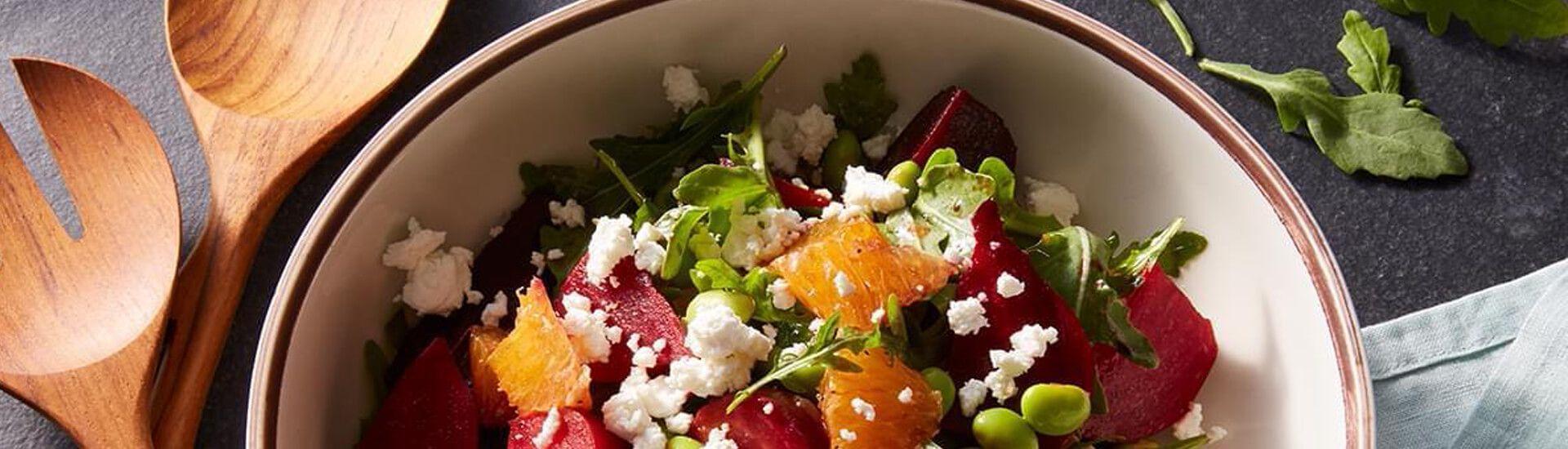Beet Salad with Orange, Edamame and Goat Cheese