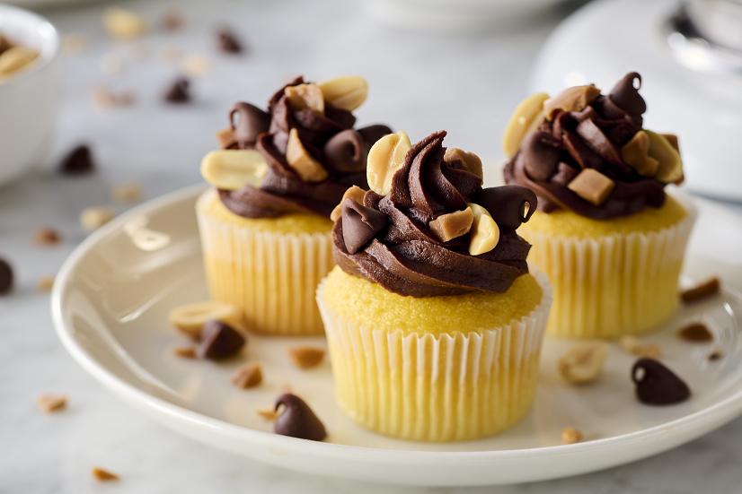 Mini Chocolate Peanut Caramel Cupcakes