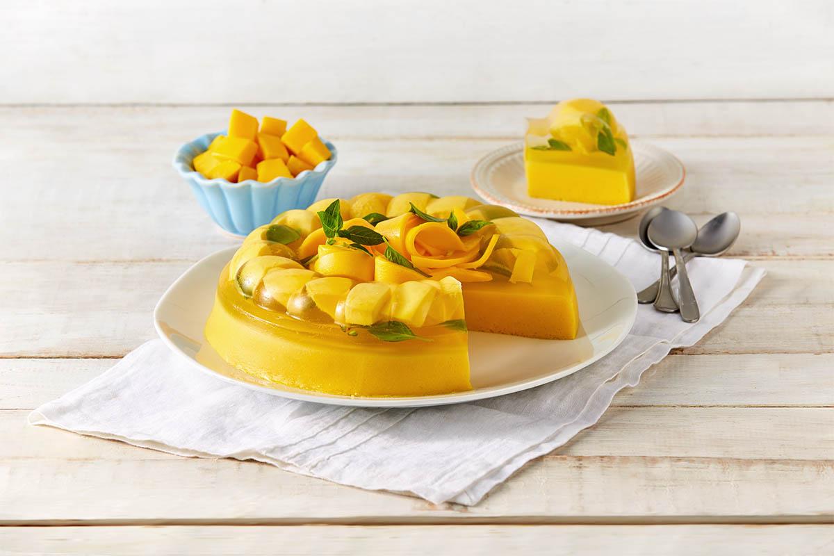 Gelatina de mango y albahaca