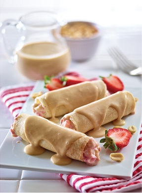 Rollitos de cacahuate y fresa