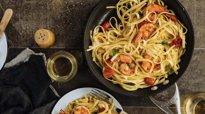 Prawns in Garlic Pasta