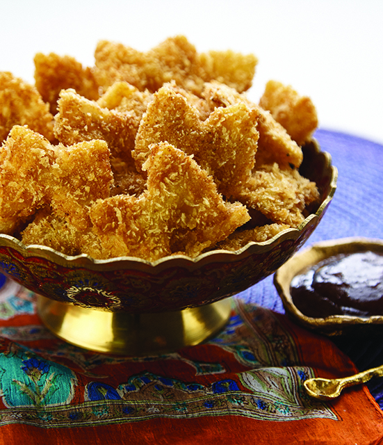 Masala Pasta Chips with Date and Tamarind Chutney