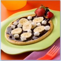 Pizza de plátano y bombones