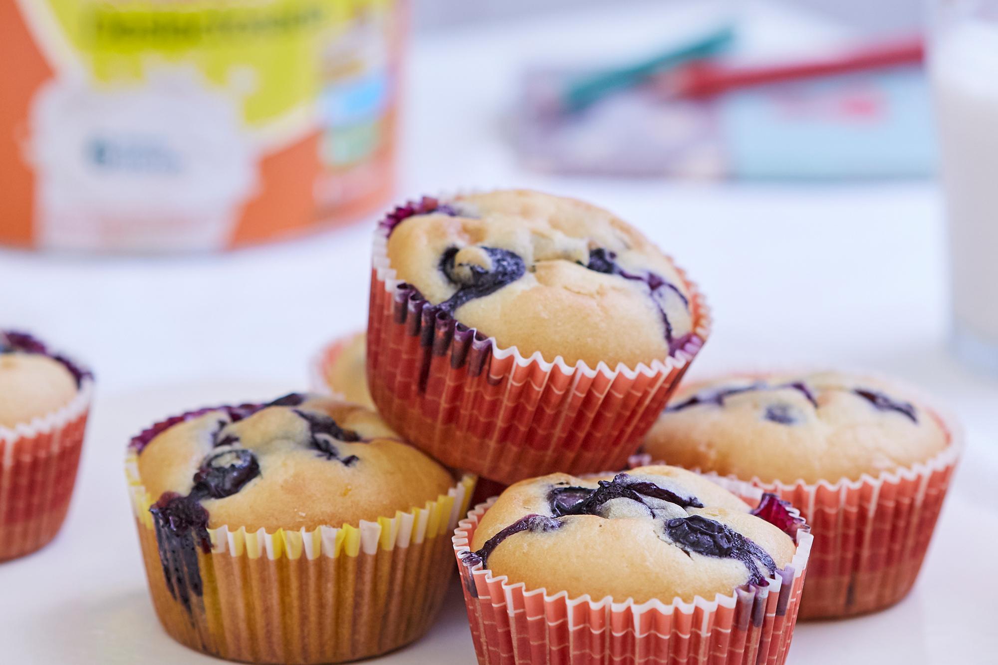 Muffins con arándanos sin lactosa