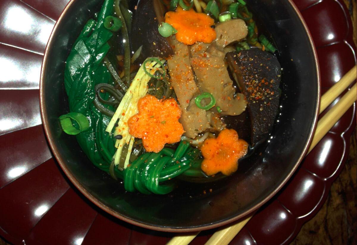 shiitake and seitan soba noodle soup