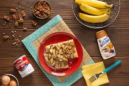 Crepas con plátano y dulce  de leche