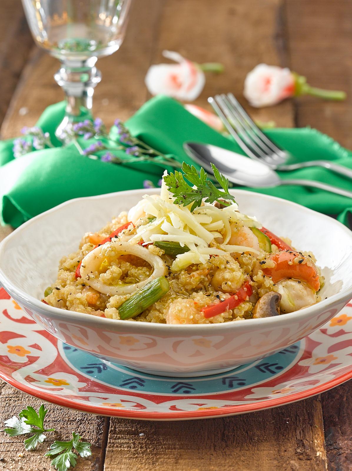 Guiso Cremoso de Quinoa con Verduras y Mariscos