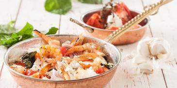 Γαρίδες σαγανάκι με θυμάρι