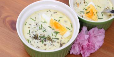 Zupa ze świeżego szczawiu z ryżem