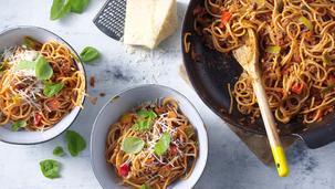Basisrecept: Pasta met gehakt en verse groente