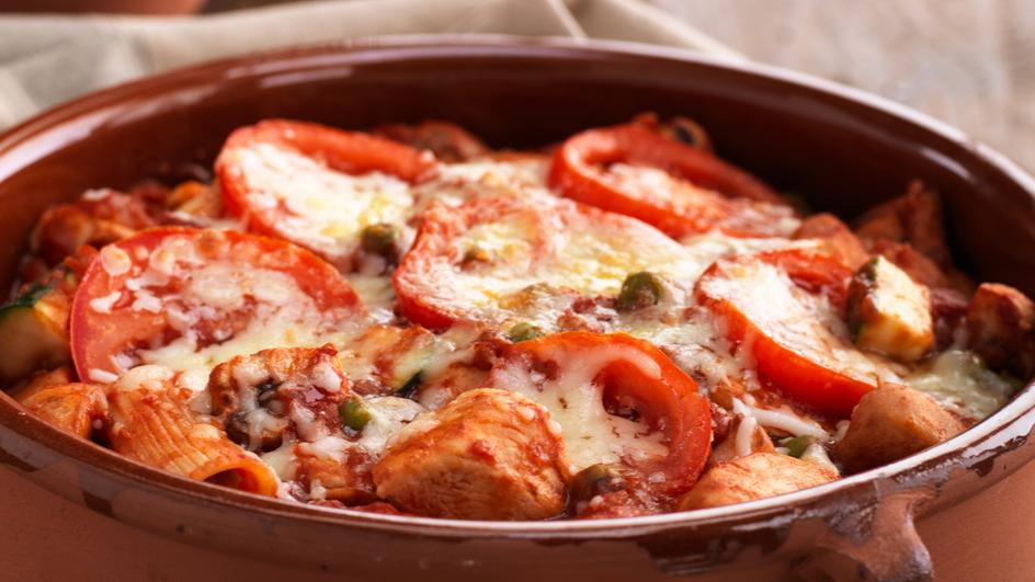 Chicken Rigatoni Bake with Garden Vegetables