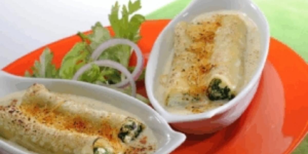 Canelones con espinaca y queso