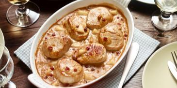 Gratinierte Schweinemedaillons mit Birnen-Pfeffer-Sauce