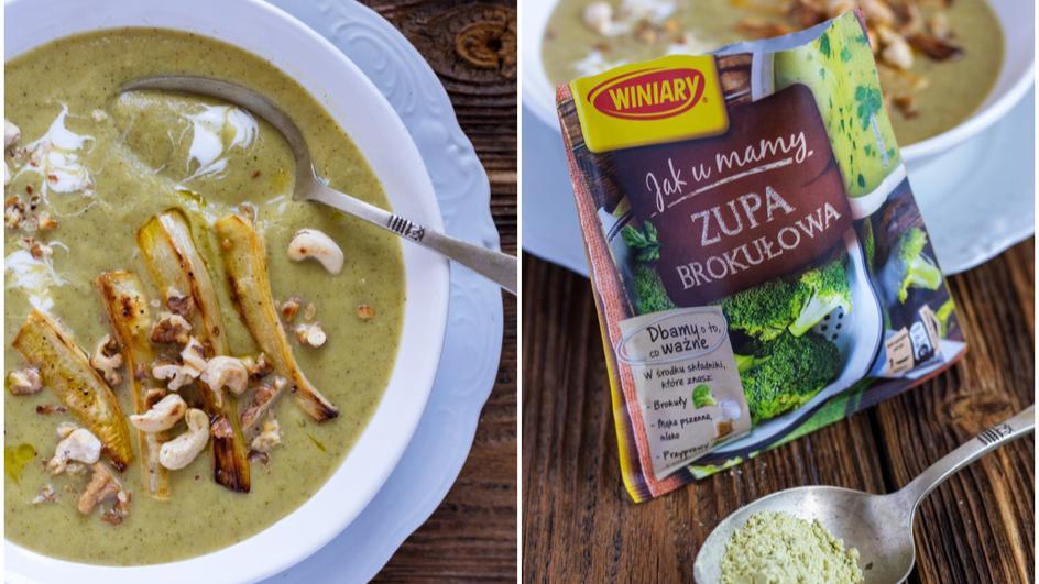 Zupa brokułowa z pieczonym pasternakiem i prażonymi orzechami