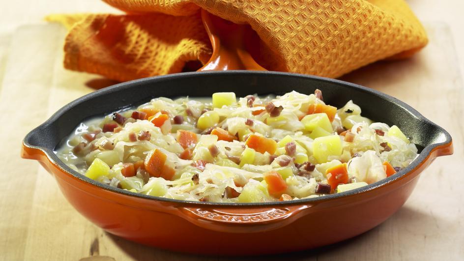 Kartoffel-Sauerkraut-Pfanne