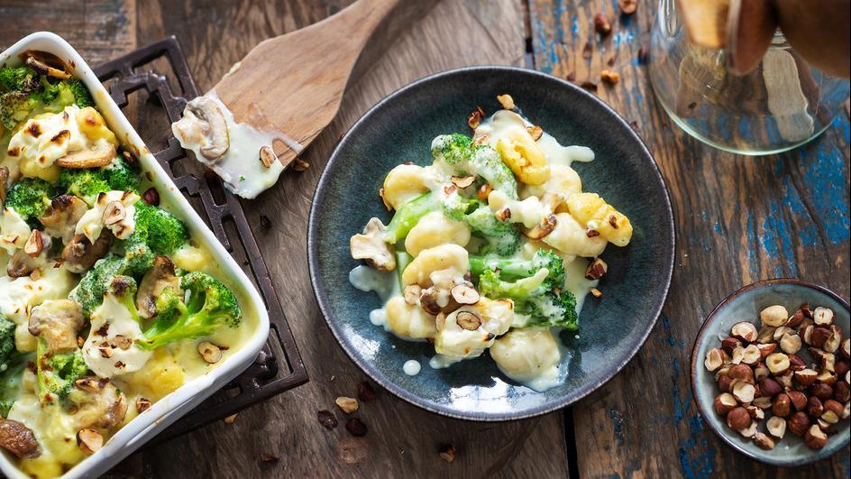 Gnocchi-Gratin mit Pilzen und Broccoli