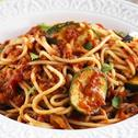 Spaghetti with Grilled Zucchini and Tomatoes
