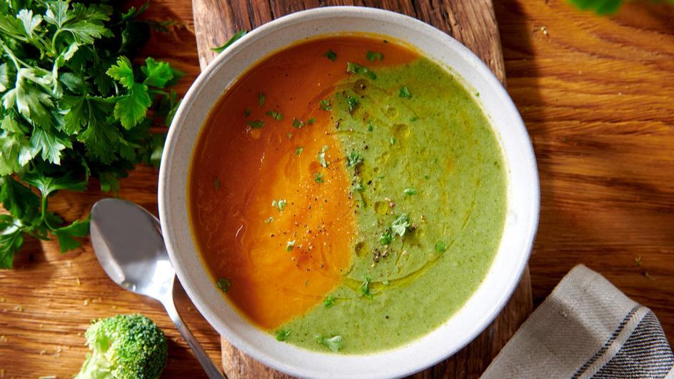 Kolorowy krem brokułowo-marchewkowy