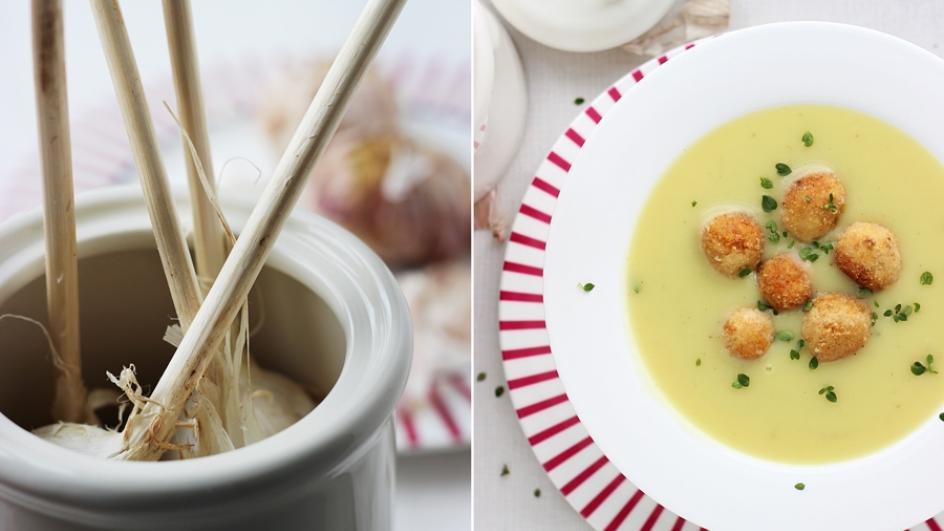 Zupa czosnkowa z klopsikami z tofu