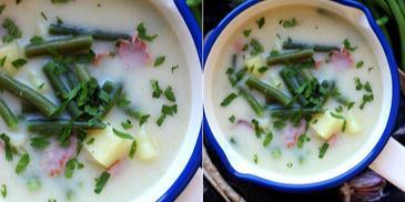 Zupa ziemniaczana z fasolką szparagową i boczkiem