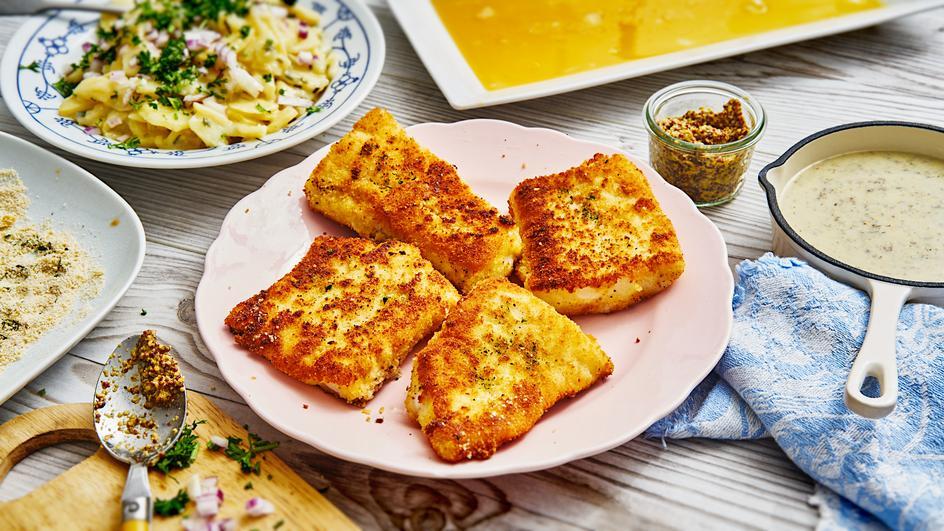 Backfisch mit Senf-Kräuter-Sauce