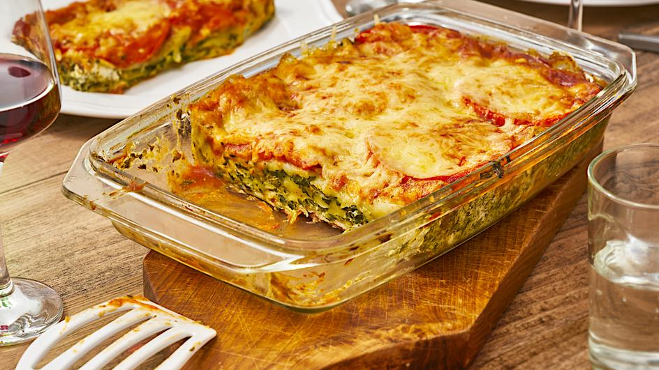 Lasagne mit Spinat, Frischkäse & Tomaten