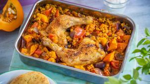Kürbis-Curry mit roten Linsen und Hähnchenschenkeln