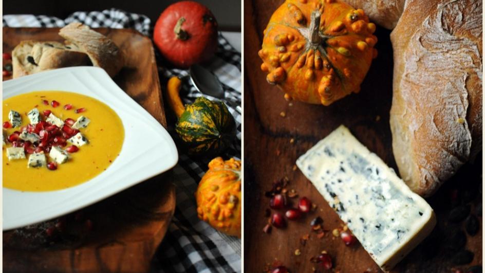 Krem z dyni z niebieskim serem i granatem
