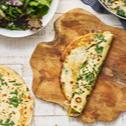 Pfannkuchen mit Pilz-Hackfleisch-Füllung