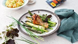 Keptos vištienos šlaunelės su šparagais