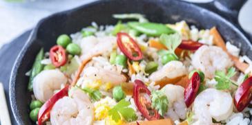 Vyprážané ryža s krevetami