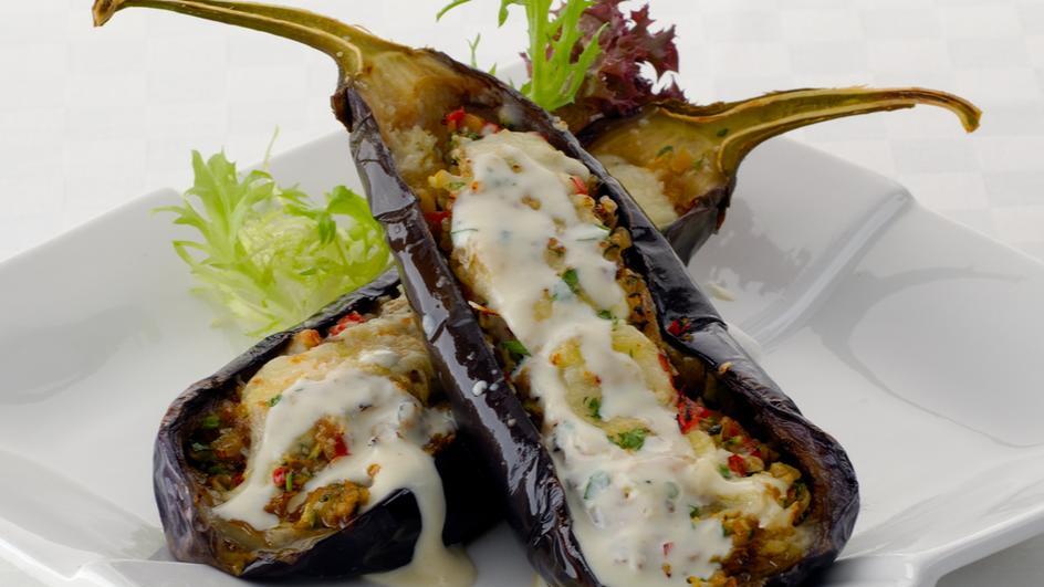 Stuffed Eggplant Gratin with Vegetables