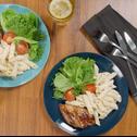 Yogurt Carbonara with Grilled Chicken Salad