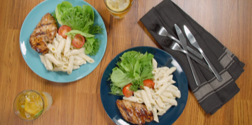 Yogurt Carbonara with Grilled Chicken Salad