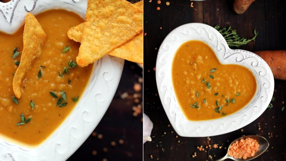 Zupa z soczewicy i pieczonych batatów