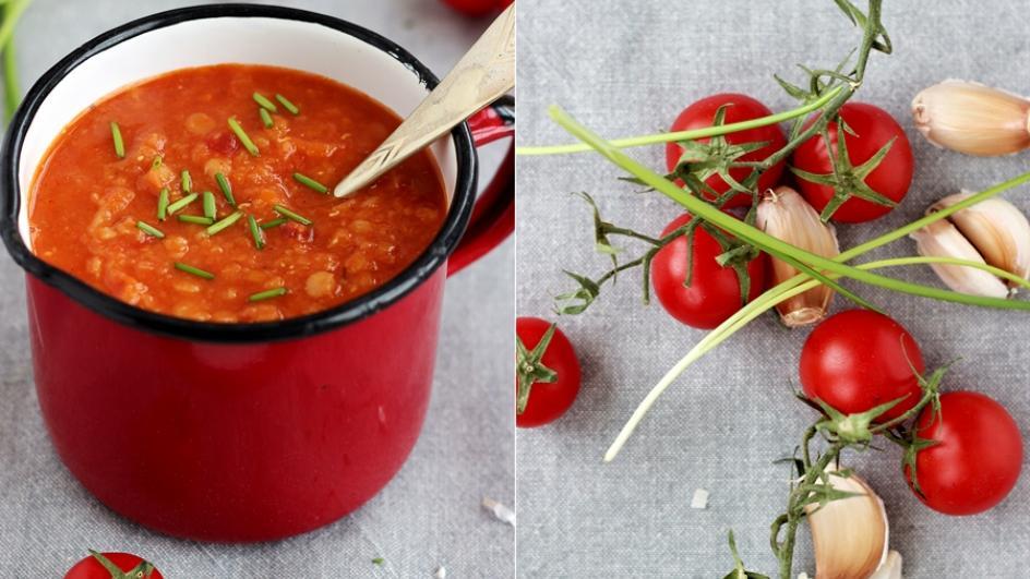 Zupa z czerwonej soczewicy z passatą pomidorową na chłody