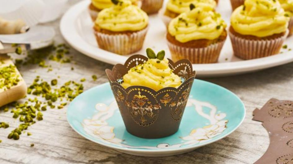 Birnen-Cupcakes mit Puddingcreme