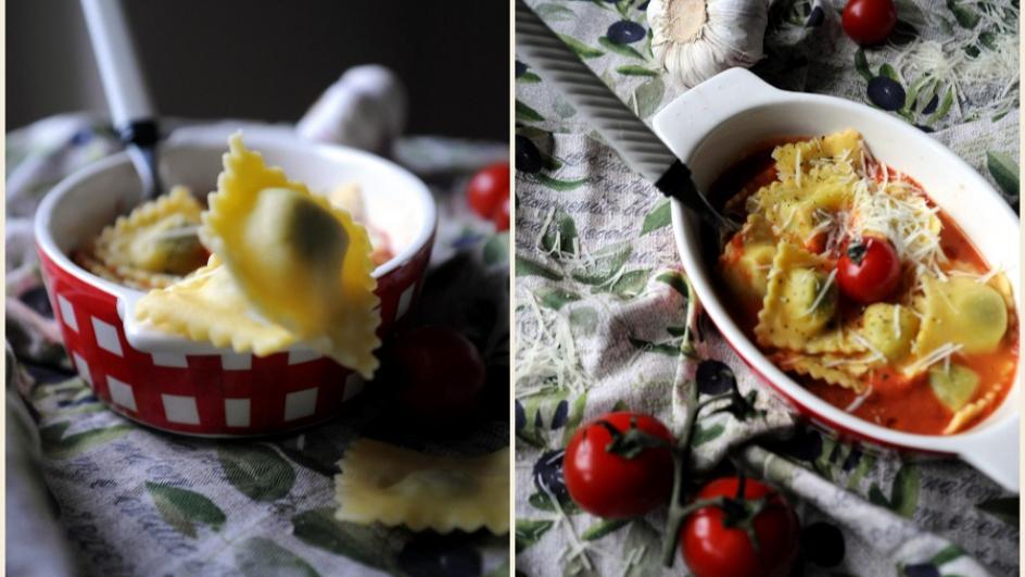 Zapiekane ravioli lub gnocchi