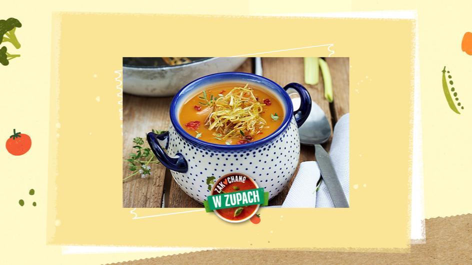 Zupa z batatów z karmelizowanym porem i łososiem