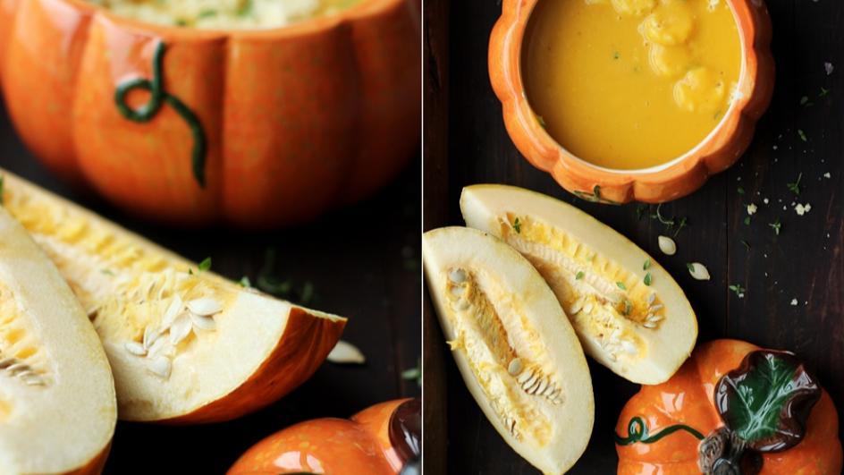 Zupa z pieczonej dyni z chipsami z parmezanu