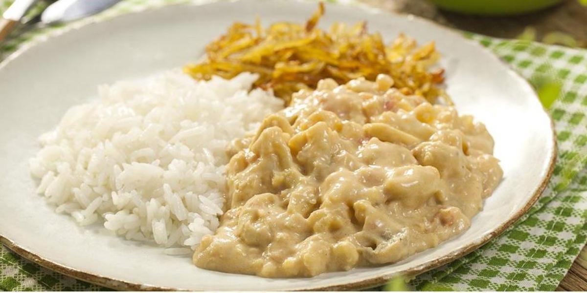 Fotografia em tons de branco, verde e pardo de uma bancada vista de frente, ao centro um prato redondo branco com arroz e strogonoff e abaixo um pano xadrez nas cores branco e verde