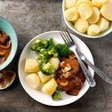Runderlapjes stoof met broccoli en champignons