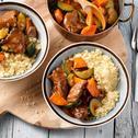 Runderstoof met gestoofde winterpeen, courgette en couscous