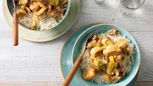 Kip met champignons, prei en rijst