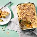 Vegetarische groenten ovenschotel met aardappelpuree kaas