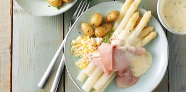 Recept witte asperges met ham en ei